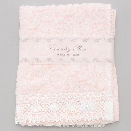 ~~凡爾賽生活精品~~全新日本進口粉紅色玫瑰花刺繡造型純棉大毛巾~日本製