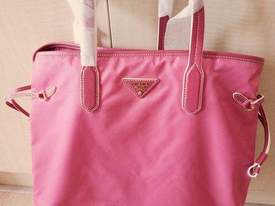 BR4662 PEONIA 尼龍+皮革粉紅肩背袋 全新正品