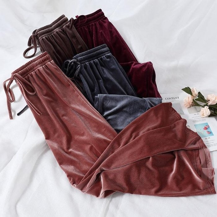 F023港味chic時尚復古金絲絨寬管褲女長褲子高腰寬鬆舒適休閒褲