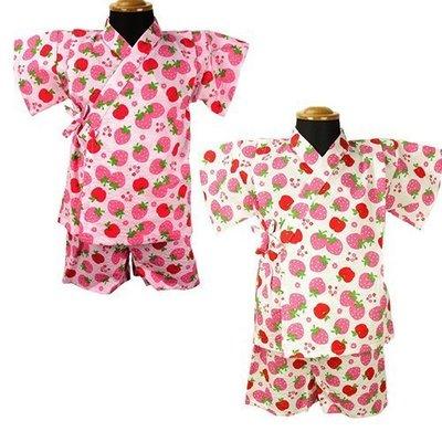 日本童裝 日本製 草莓 蘋果 浴衣 / 甚平 /兒童和服 上衣+短褲 日本空運 白色#95 ~小太陽日本童裝