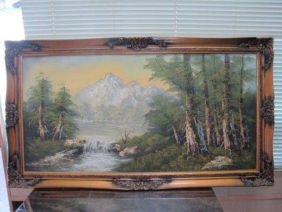 二手舖 NO.607 手繪油畫 山水畫 畫風獨特 筆觸細膩 再降價
