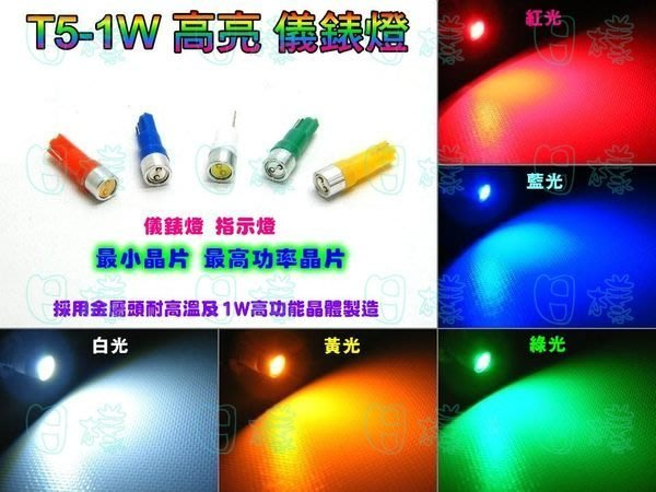 《日樣》高亮度 T5 1W高功率 儀表燈 儀表燈炮 指示燈 小插泡 儀錶板燈 鋁製散熱設計