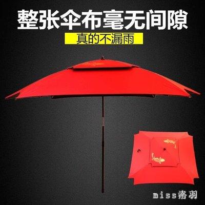 釣魚傘2.2/2.4米雙層萬向黑膠防風防雨防曬不漏雨垂方形釣傘戶外 js7366