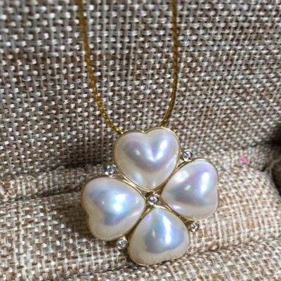 ✨🍀天然海水極強光愛心馬貝幸運草珍珠18金鑽石💎墜鍊✨🍀