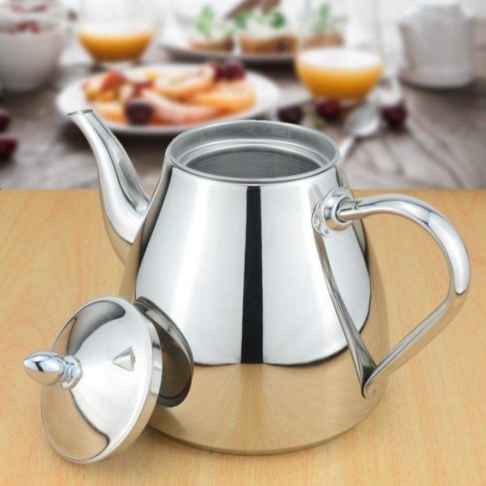 加厚304不銹鋼小水壺電磁爐茶壺飯店餐廳茶水壺家用過濾網泡茶壺CY