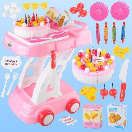 超可愛生日蛋糕手推車遊戲組~仿真蛋糕切切樂玩具~美味點心餐車~56pcs~家家酒玩具◎童心玩具1館◎