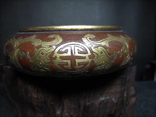 老銅爐 ◎   銅鎏金 壓經銅香爐 【世古之寶  款】