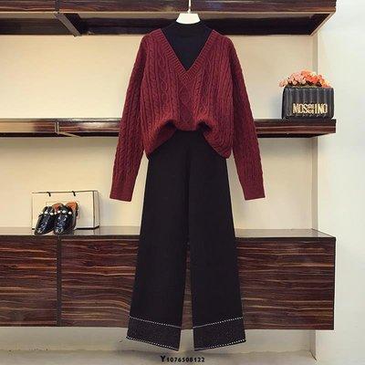 秋裝新款2020慵懶風針織毛衣衫顯瘦闊腿褲兩件套 大碼女裝 大尺碼套裝XL-5XL