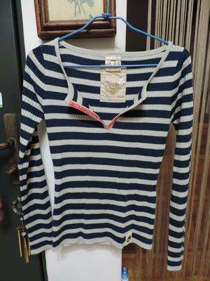 女裝 灰藍色線條長袖針織衫 U.S NAVAL STATION 深V翻領 尺寸M