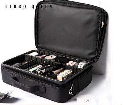 【愛來客】專利商標品牌新款Cerro Qreen專業黑色收納隔板大款化妝箱化妝包彩妝化妝刷收納箱 新秘/彩妝師