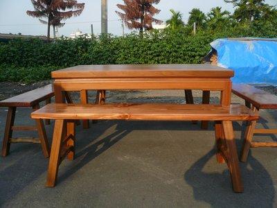 A048 {崙頂傳統原木家具行}~杉木實木邊框固定桌配杉木長板凳整組 淺柚木色  接受尺寸訂做.訂色