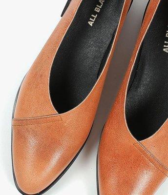 All black (overlap loafer)真皮棕色平底鞋 樂福鞋