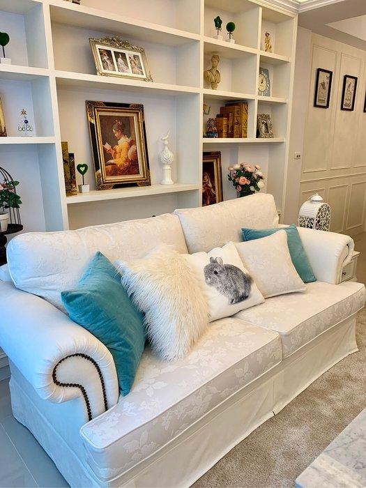 ~利百加家具(原上福傢俱)~美式布沙發/鄉村風古典沙發.西班牙雕花布沙發.可挑布花/全可拆.好清洗
