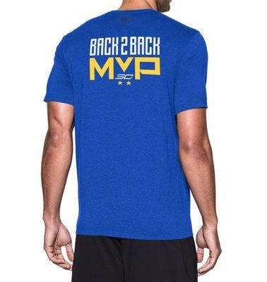 Under Armour Curry Back 2 Back 1304645-400勇士隊藍黃白短袖T恤MVP排汗衫UA