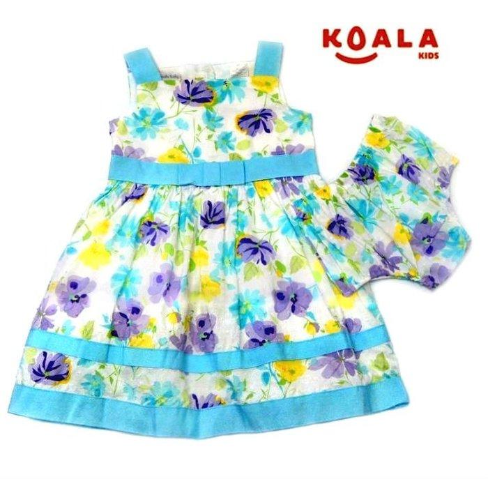 女童澳洲單純棉無袖花卉洋裝 套裝 含小褲 禮服 6-9M,12M,18M,2T,3T【K4】