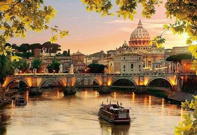 日本進口拼圖 風景 美麗的梵蒂岡聖彼得大教堂夕陽美景 300片拼圖 300-350