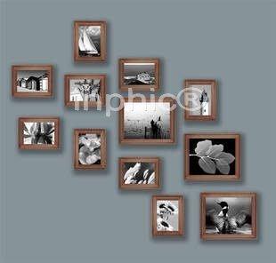 INPHIC-歐式實木12框組合 胡桃木色相框 歐式超寬邊相框組合照片牆