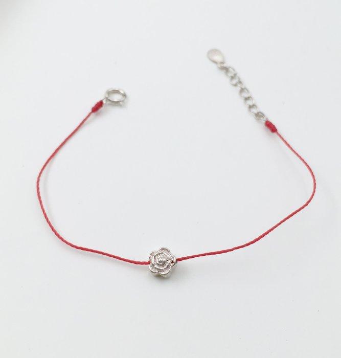 [Le Bonheur Line] 幸福線 手工 / 925純銀 6mm玫瑰/紅線 手鍊 極簡 韓國 飾品 限時 免運