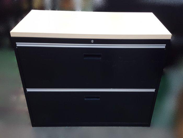 台中二手家具店 宏品全新中古傢俱 CE11298桌板黑色2抽理想櫃 資料櫃  *2手辦公設備拍賣 oa隔間屏風 會議桌