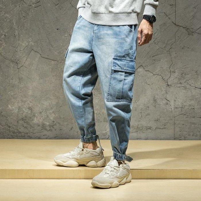 單寧牛仔褲 大碼牛仔哈倫褲大碼多口袋時尚束腳工裝褲潮牛仔長褲 寬管男褲子t6281