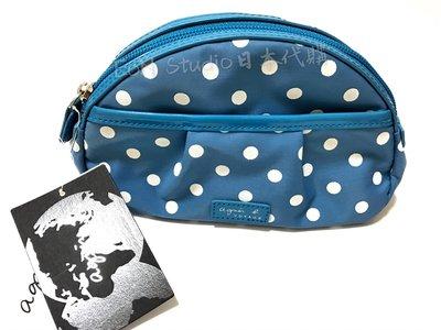 ✰Mia日系小舖✰【現貨】agnes.b/小b藍色點點化妝包