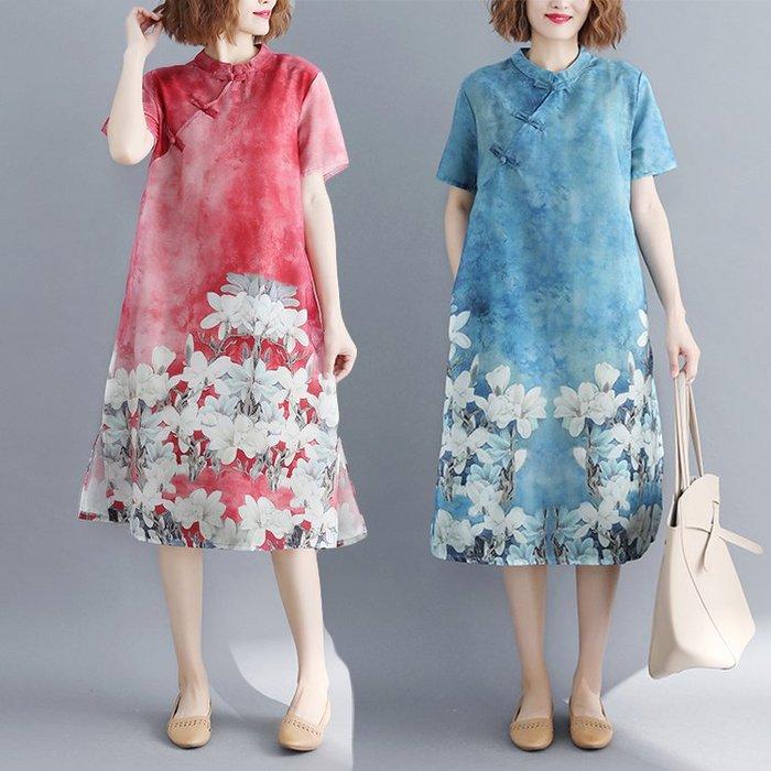 棉麻洋裝 夏季民族風復古盤扣印花棉麻短袖連身裙寬鬆顯瘦中式改良旗袍裙子 站CXZJ