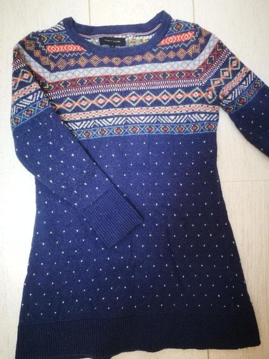 Tommy Hilfiger 民族風藍色點點毛衣裙