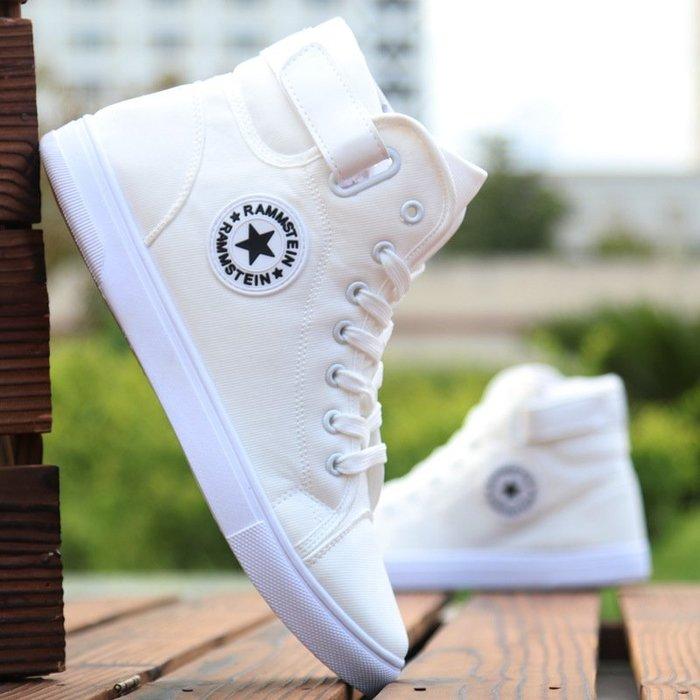 【潮包】鞋子春季白色黑色青春百搭休閒布鞋男運動鞋高幫帆布鞋高幫男休閒風