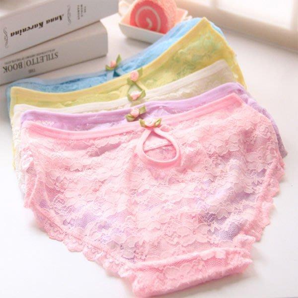 甜美少女 透氣網紗蕾絲性感低腰內褲 均碼 不挑色隨機出貨 【庫奇小舖】【T52】