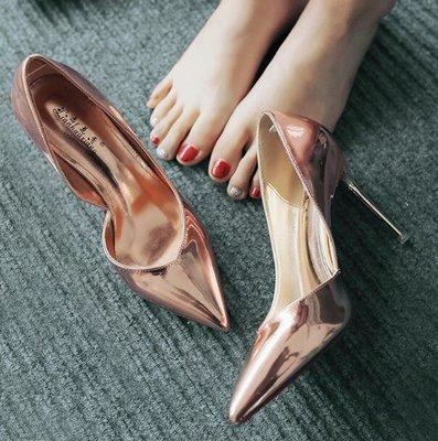新款尖頭高跟鞋 細跟側空OL漆皮女鞋百搭高跟涼鞋—莎芭