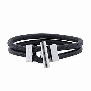 全新日本專櫃正品 Calvin Klein 黑色全牛皮滑皮裝飾設計質感手環  附專櫃盒裝 紙袋