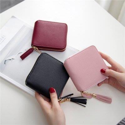 新款流蘇拉鏈短夾錢包女士方形兩折小零錢包簡約時尚小錢夾潮zzy6980