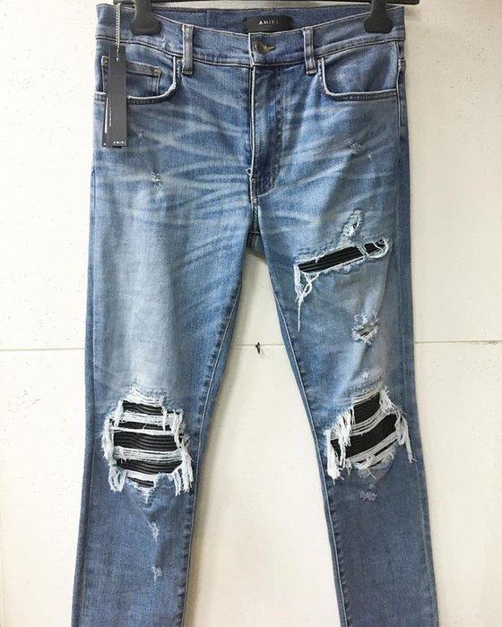[ 羅崴森林 ] AMIRI SS19 LIGHT BLUE WASHED MX1現貨 藍刷破鑲黑皮革彈力修身牛仔褲