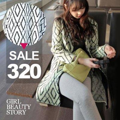 超哥小舖【C8041】現貨復古幾何拼色開衫格紋針織罩衫大衣外套