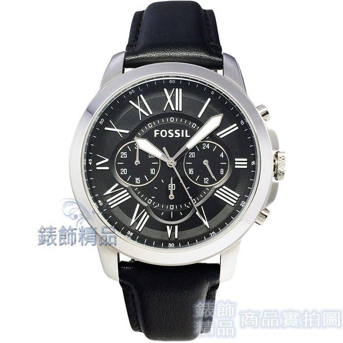 FOSSIL 手錶 FS4812IE 羅馬時標 三眼計時 黑面 黑色錶帶 44mm 男錶【錶飾精品】