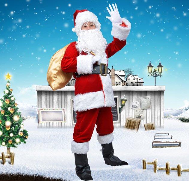 【洋洋小品大人超豪華絨布聖誕老公公服裝12件組】聖誕老人服眼鏡手套聖誕圍裙聖誕禮物袋聖誕帽聖誕老人鬍子聖誕金絲絨毛