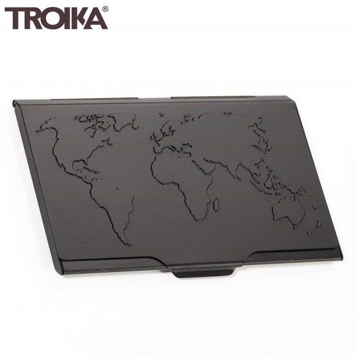 又敗家@德國TROIKA世界地圖防RFID名片夾信用卡夾CDC15-02/BK名片盒防感應卡夾防NFC防側錄輕薄隨身卡匣