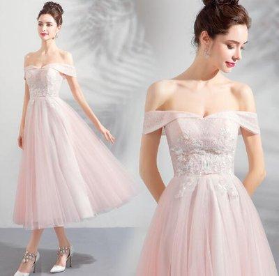 婚禮洋裝 婚禮禮服 仙瘦版型 水晶粉色新娘短款婚紗小禮服 長裙 伴娘服—莎芭