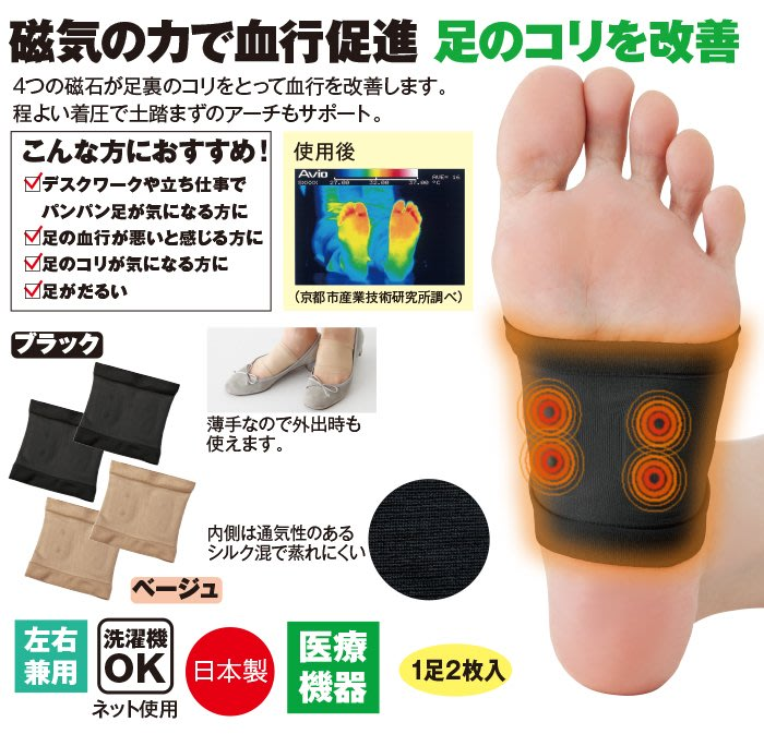 Ariel Wish日本Koritorun 磁力足部磁氣護理腳用腳底磁力彈性護套足部專用可水洗重複使用-日本製-兩色現貨