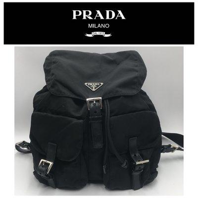 【皮老闆二店】二手真品  Prada  後背包 背包 LAMPO 拉鍊  B605
