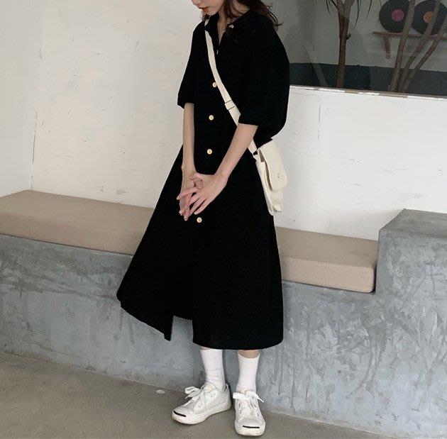 SeyeS  NYLON古著時尚英倫簡約法式優雅黑色開扣洋裝