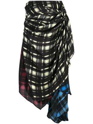 Preen Line 不對稱 多色 格紋裙
