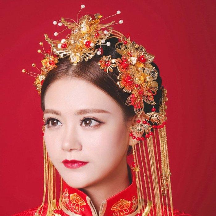 頭飾 髮飾 首飾 復古新娘飾品古裝皇冠頭飾中式結婚發飾秀禾服鳳冠旗袍配飾