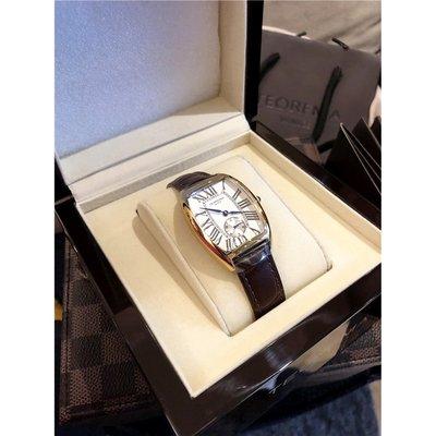 《巴黎拜金女》進口小牛皮錶帶!防水酒桶形女士腕錶