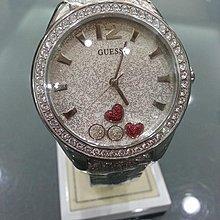 永達利鐘錶 GUESS 銀殼鑽框 銀蔥面板 皮帶錶 35mm 原廠公司貨 保固一年 GWW0117L1