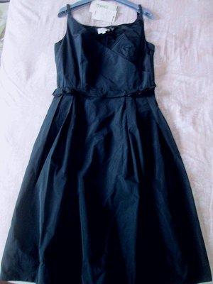 全新義大利精品黑色絲緞blumarine CELINE MAX MARA款小禮服洋裝40號