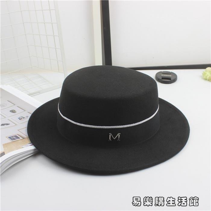 情侶黑色小禮帽平頂平檐爵士帽男女