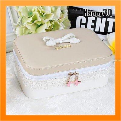 ☆☆☆化妝盒化妝品收納盒蕾絲首飾盒飾品盒蝴蝶結化妝包便攜-粉杏