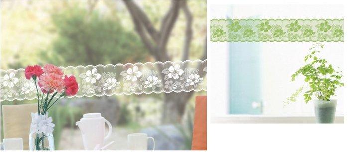 小妮子的家@韓國進口小花蕾絲玻璃.鏡面.瓷磚防曬防水透明腰線.玻璃貼膜LB-015