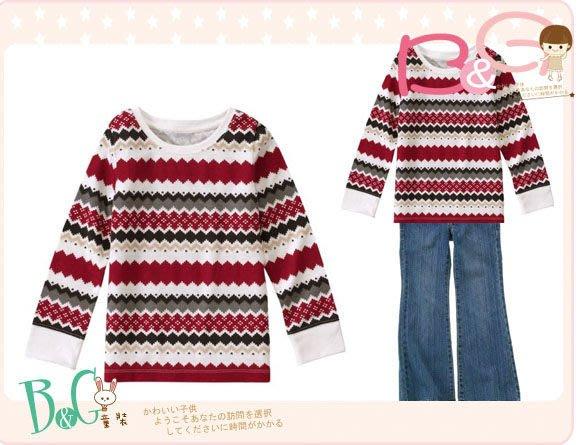 【B& G童裝】正品美國進口GYMBOREE紅灰白色條紋長袖上衣7yrs